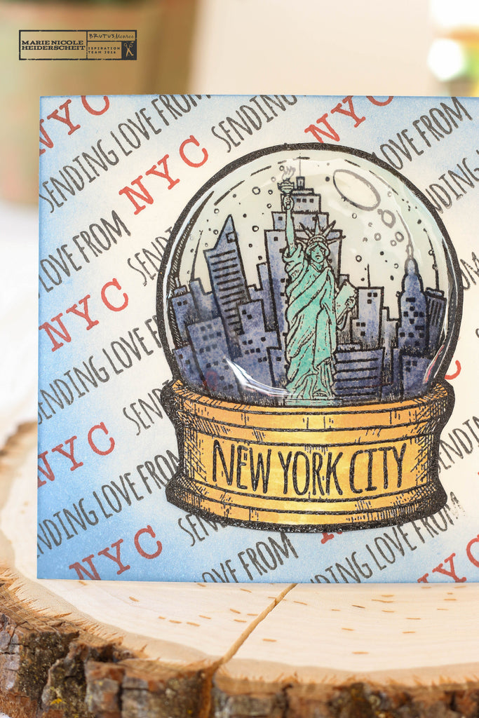 City Sidewalks stamp collection from Brutus Monroe. This is a fun postcard featuring the New York City snowglobe!