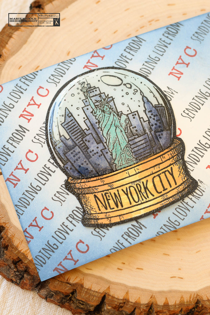 New York City snowglobe stamp from Brutus Monroe. Cute postcard!