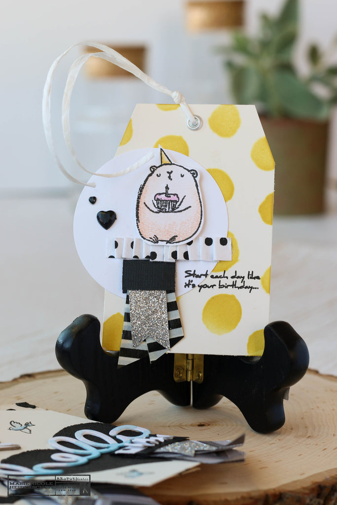 Birthday Bears stamp set from Brutus Monroe on a cute little tag!