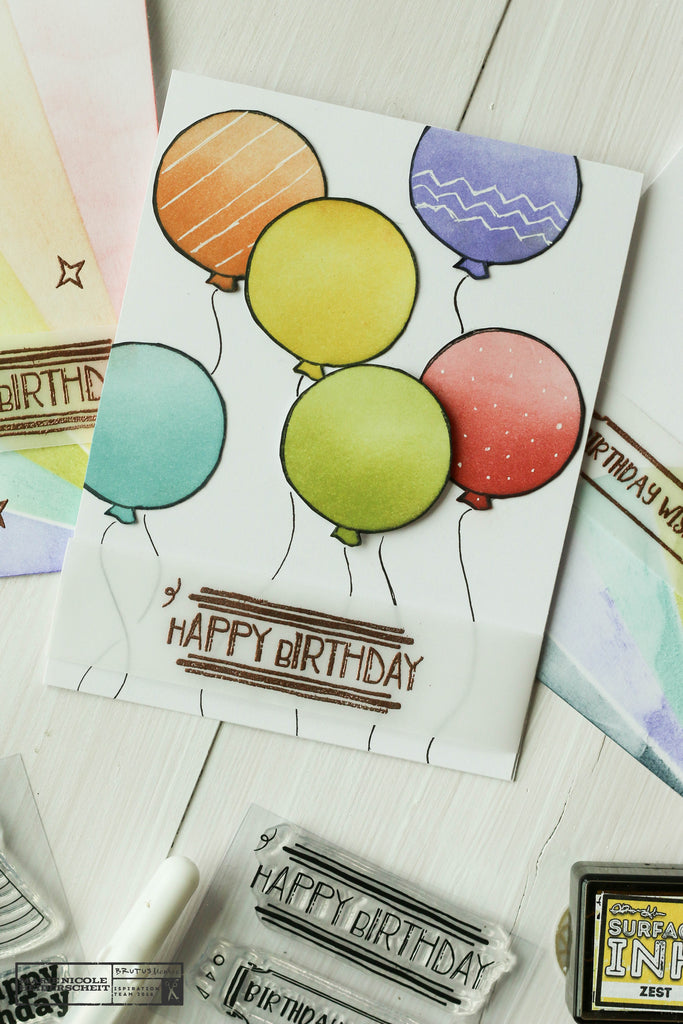 Brutus Monroe rainbow birthday themed cards for April's Stamp Club!
