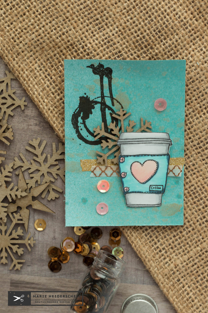 Coffee themed ATC with Brutus Monroe stamps