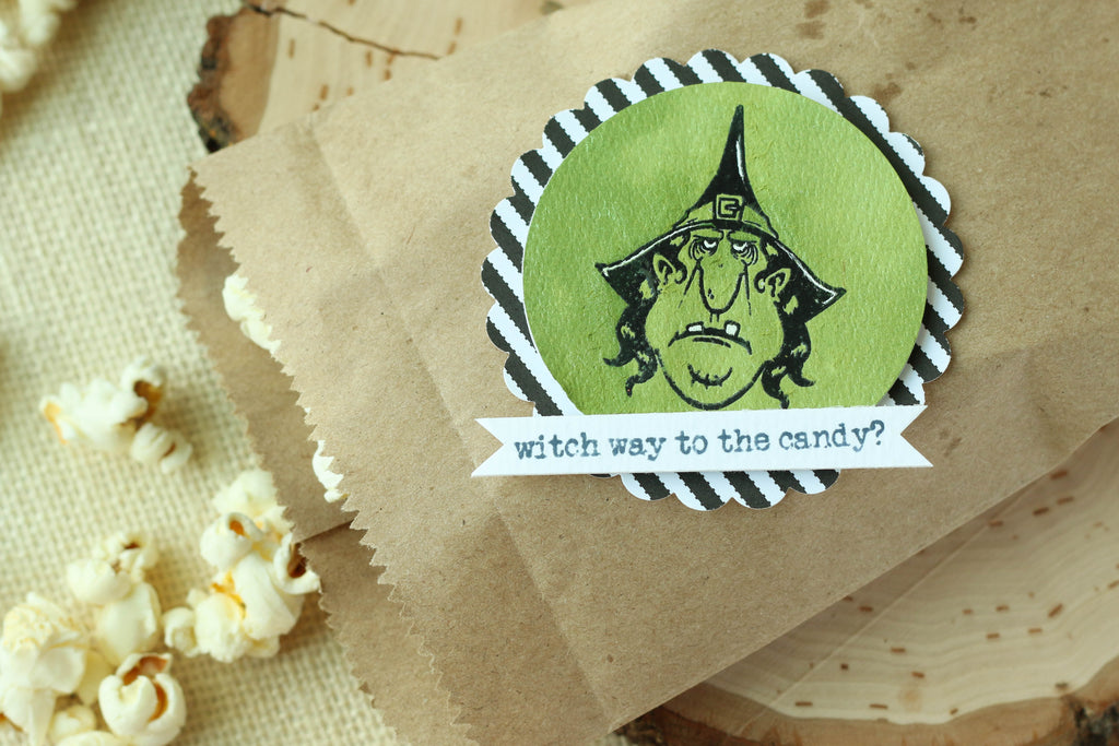 Brutus Monroe's witch stamp set makes the perfect tags for your Halloween treat bags!
