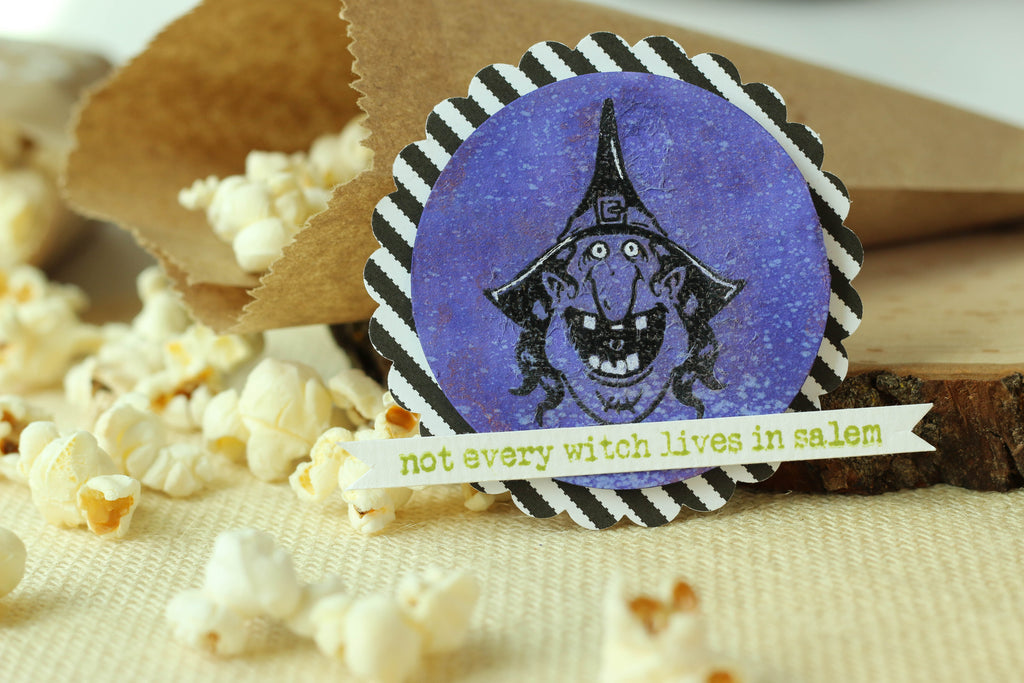 Brutus Monroe's witch stamp set is perfect for creating these fun tags that you can clip onto Halloween treat bags!