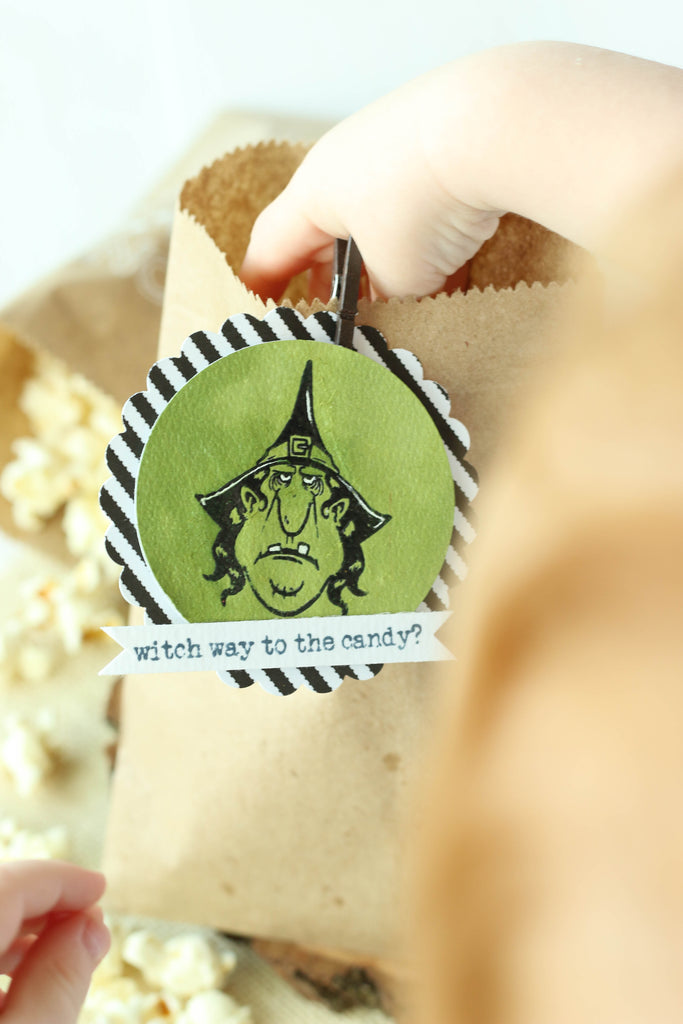 Brutus Monroe's witch stamp set is perfect for decorating those Halloween treat bags!