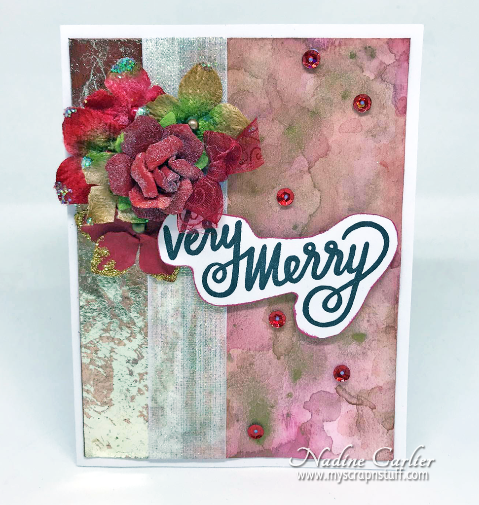 Very Merry Mixed Media Christmas Card by Nadine Carlier