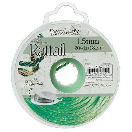 Dazzle-It!® 1.5mm Rattail Nylon Cord - Grass Green - 20 yards