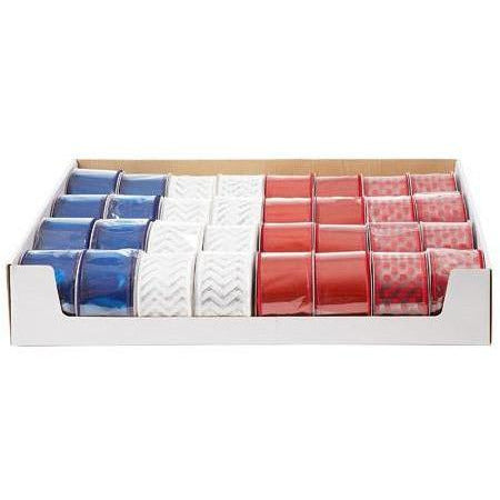 Red/White/Blue, 2.5 inches x 25 feet, 4 Assorted Styles