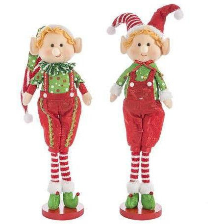Fabric Elf Decoration: 7 x 21 inches, 2 Assorted Styles