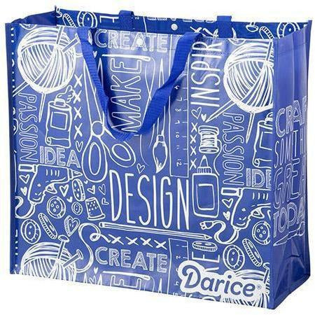 Darice Tote Bag: Word, Blue, 19.5 x 17.5 inches
