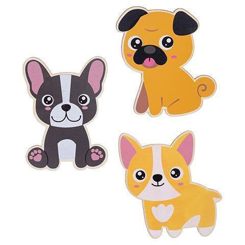 Wood Dogs with Printed Designs, 3 pack
