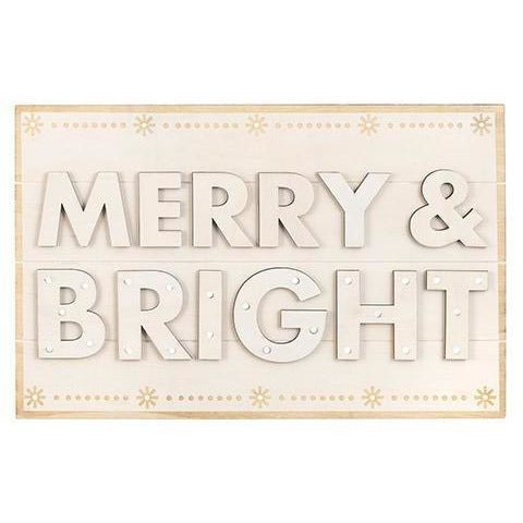 Merry and Bright Unfinished Wood Sign, 17 x 11 inches