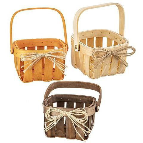 Mini Chipwood Baskets in Assorted Colors, 5 inches