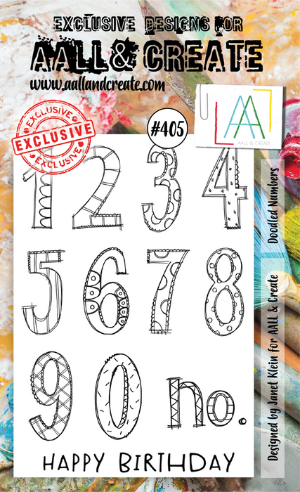 AALL & Create - A6 Stamp - Doodled Numbers