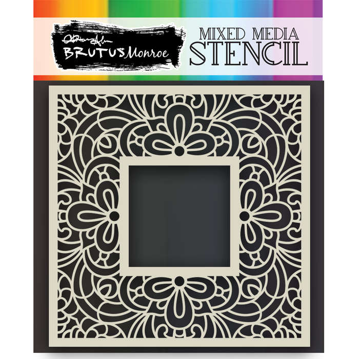 Mixed Media Stencil - Lace Square