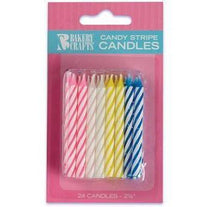 Multi-Color Stripe Birthday Candles