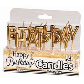 Gold Happy Birthday Candles