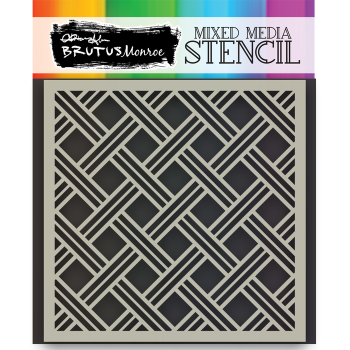 Mixed Media Stencil - Basket Weave