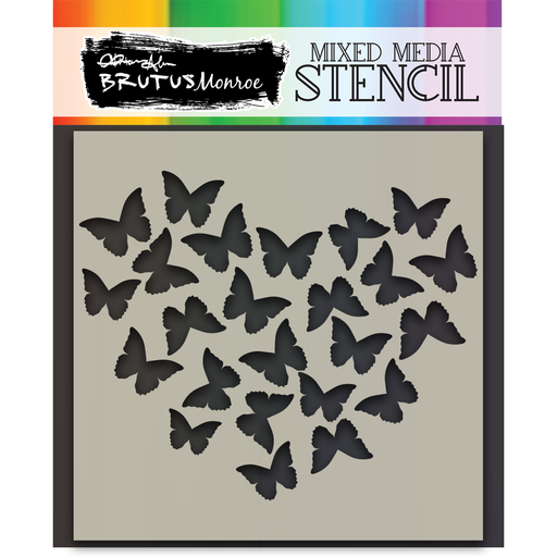 Mixed Media Stencil - Butterfly Heart