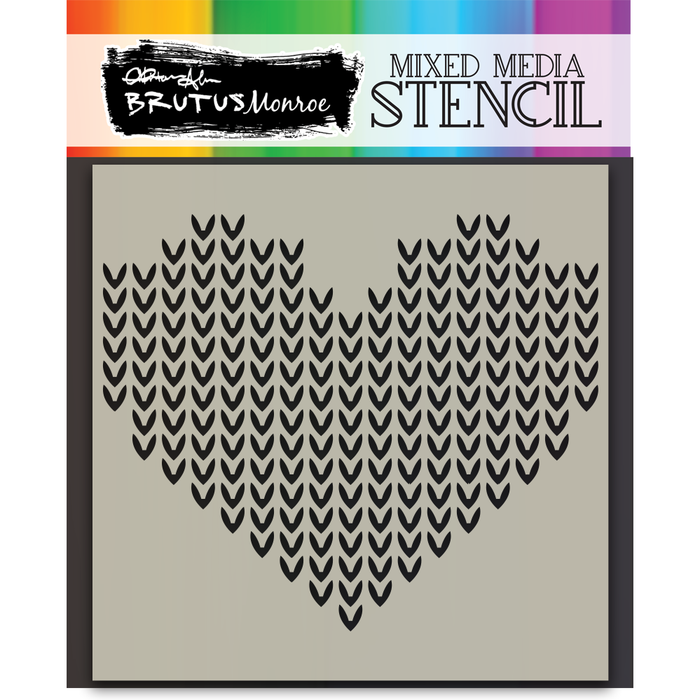 Mixed Media Stencil - Cable Knit Heart