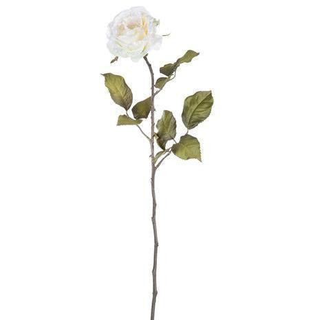 Artificial Glitter Rose Spray: Ivory/Cream 24 inches