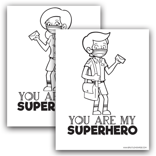 Mail Carrier Super Hero - Coloring Pages