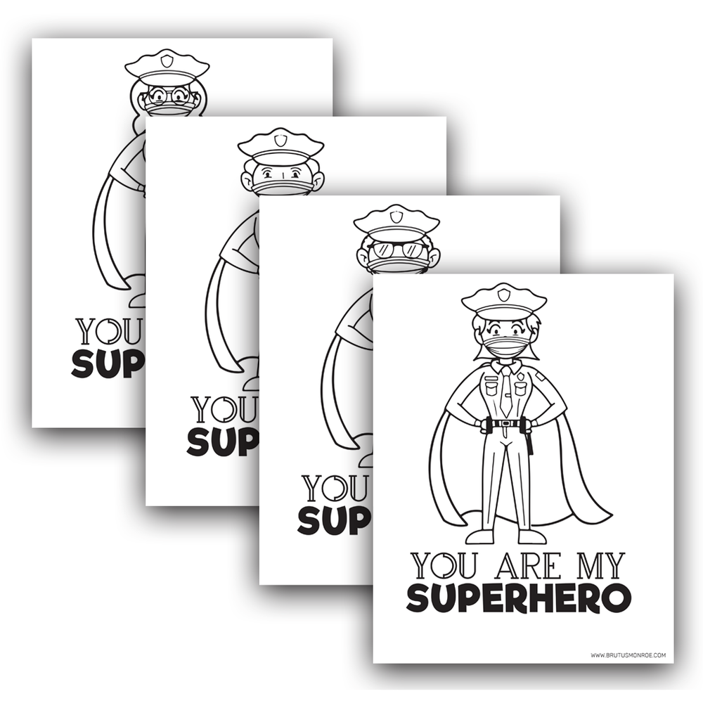 Police Officer Super Hero - Coloring Pages