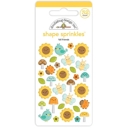 Doodlebug Design - Pumpkin Spice Collection - Self Adhesive Shape Sprinkles - Fall Friends