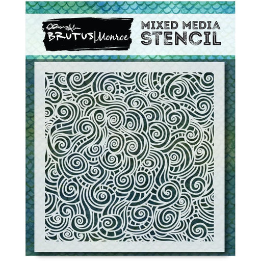 Mixed Media Stencil - Mermaid Lagoon - Tangled Waves Stencil
