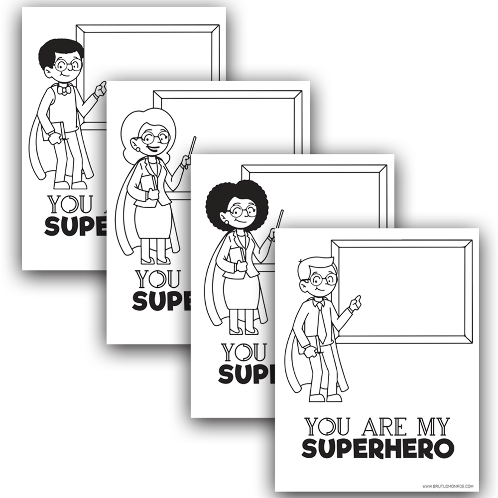 Teacher Super Hero - Coloring Pages