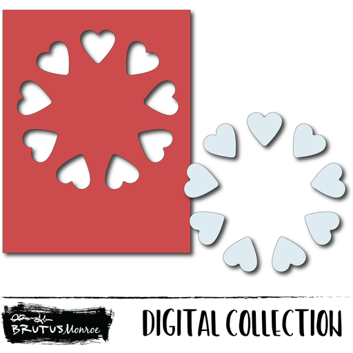 Holiday Wreath Panel - Hearts - Digital
