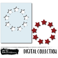 Holiday Wreath Panel - Star - Digital