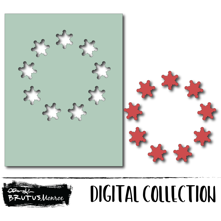 Holiday Wreath Panel - Simple Snowflake - Digital