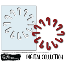 Holiday Wreath Panel - Candy Cane - Digital