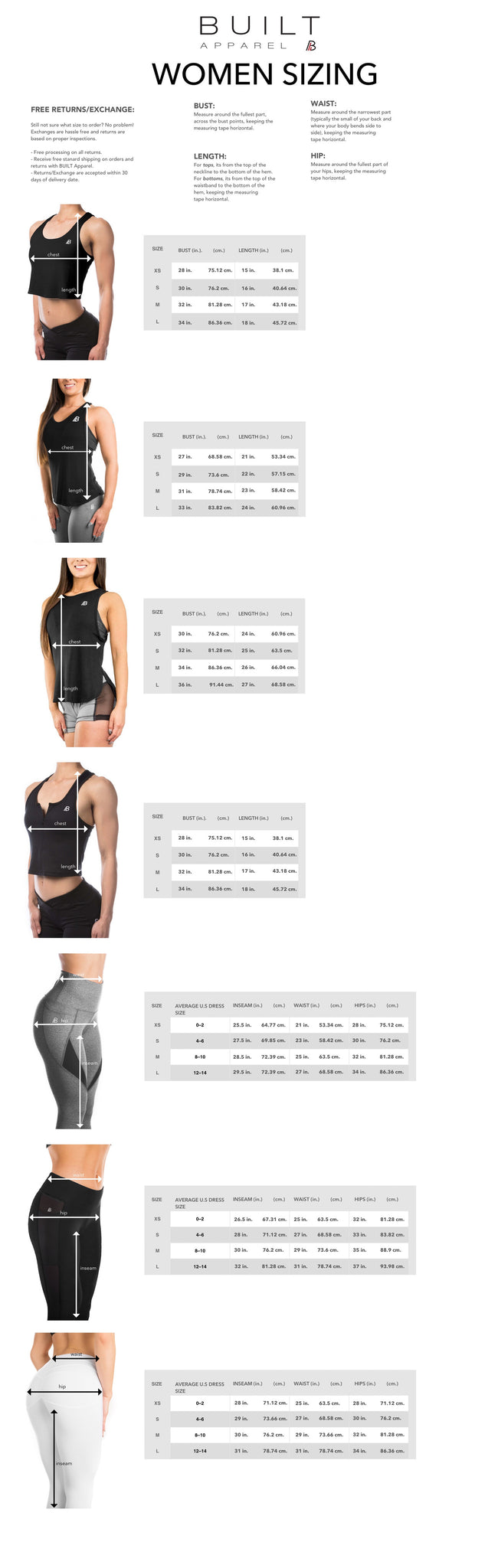 women sizing chart