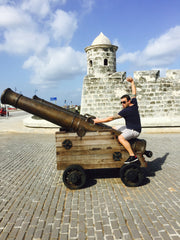Going for a cannon ride in Cuba.