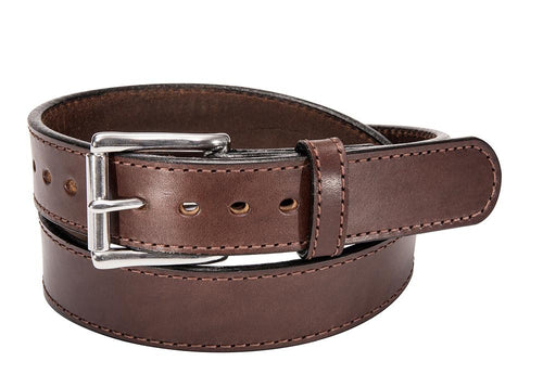"BULLBELT® 1.25"" RICH BROWN STITCHED BULLHIDE GUN BELT"