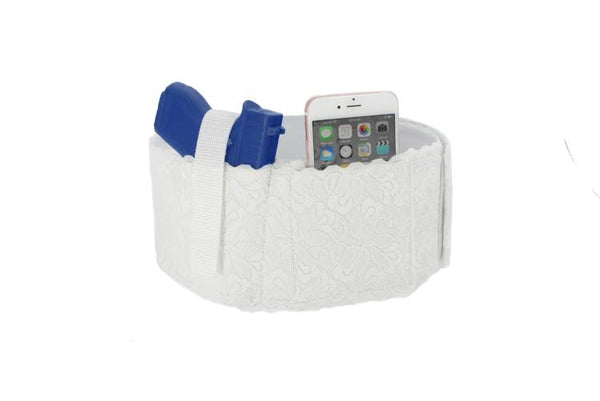 4 Inch Wide Women's Lace Belly Band Holster, Black or White