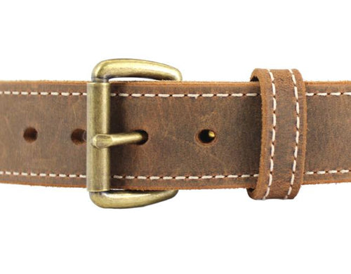 DISTRESSED DUAL LAYER AMERICAN BISON LEATHER GUN BELT 12-14 oz