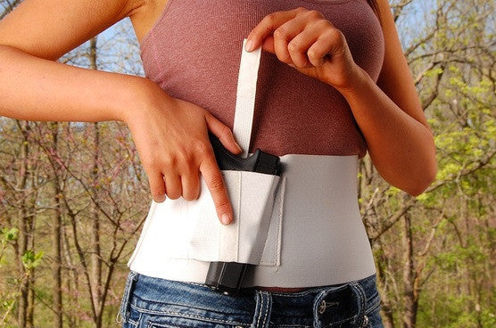 6 Inch Wide One Gun Belly Band Holster, Black or White