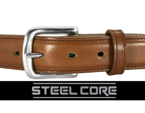 ITALIAN DRESS LEATHER STEEL CORE GUN BELT
