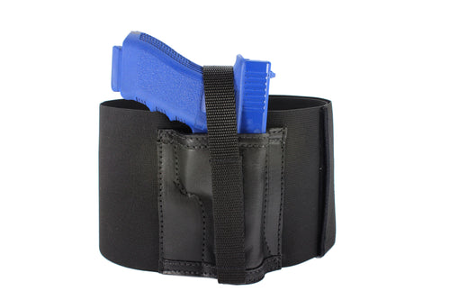 "6"" Wide One Gun Belly Band with Leather Holster"