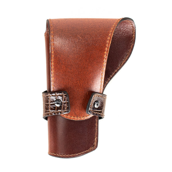 Brown Alligator Banded Western Revolver Holster