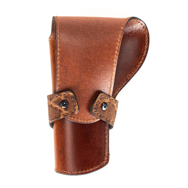 Rustic Brown Elephant Banded Western Revolver Holster