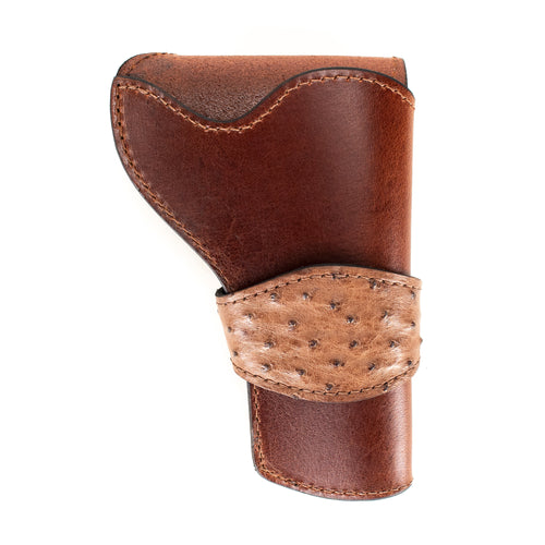 Brown Ostrich Banded Western Revolver Holster