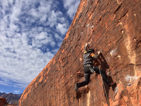 Alex Chiang climbing in Thunderbolt Sportswear ultra versatile and durable Mark II softshell jeans