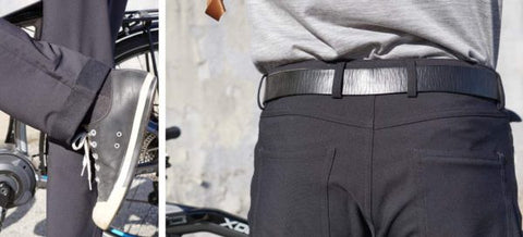 thunderbolt sportswear active commuter pants review - cuff and back of pants