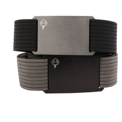 Thunderbolt Sportswear Thunderbelt, Made in USA by Grip 6, grey buckle/black strap and black buckle/grey strap