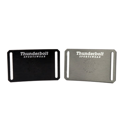 Thunderbolt Sportswear Thunderbelt, Made in USA by Grip 6, back of grey buckle and back of black buckle