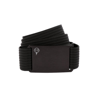 Thunderbolt Sportswear Thunderbelt, Made in USA by Grip 6, black buckle/black strap rolled