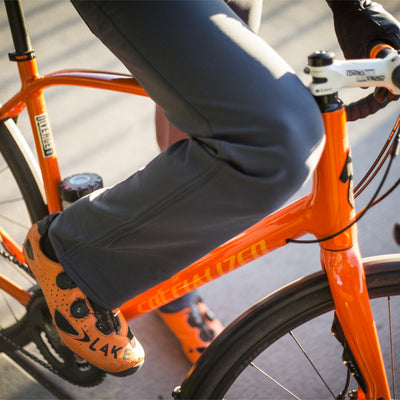 Thunderbolt Sportswear Original Jeans - Mark II Alloy with Schoeller® Dryskin and Nanosphere®, front view on bike with bent knee